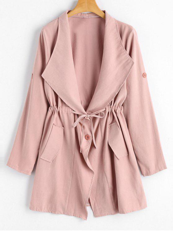 Button Up Belted Skirted Trench Coat - Pink