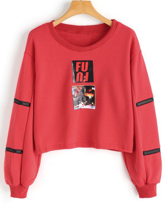 Sweat-shirt à Motif à Manches Zippées - Rouge XL