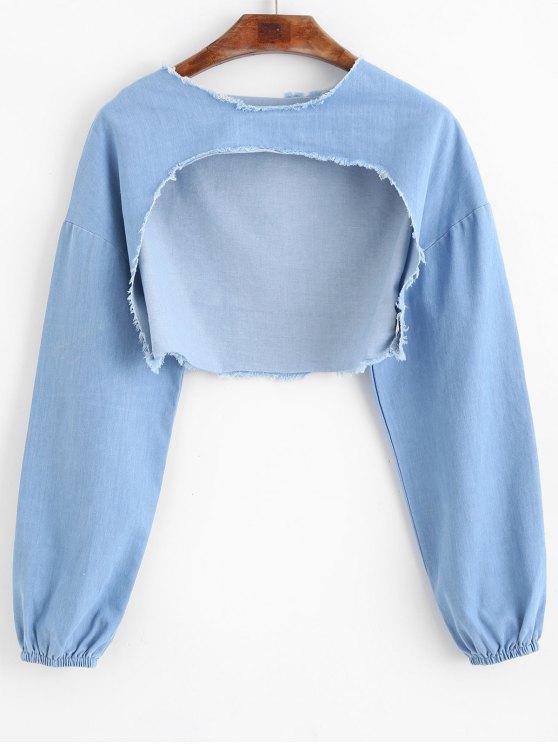 Sweat-shirt Découpé Haut-Bas Usé - Bleu de Denim Taille Unique