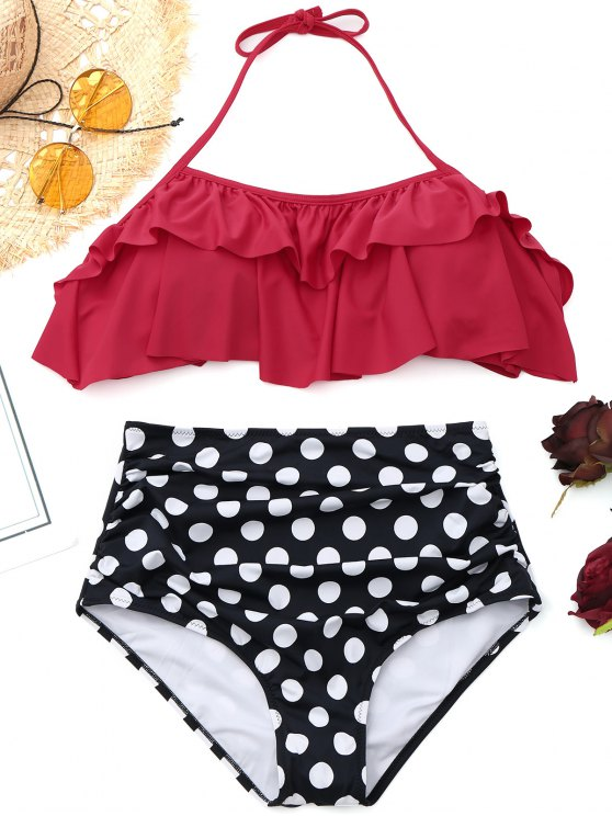 chic Ruffled Polka Dot High Waisted Bikini - RED XL