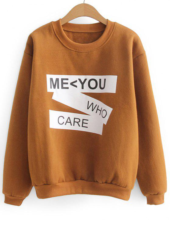 ladies Contrasting Letter Two Tone Sweatshirt - LIGHT BROWN ONE SIZE