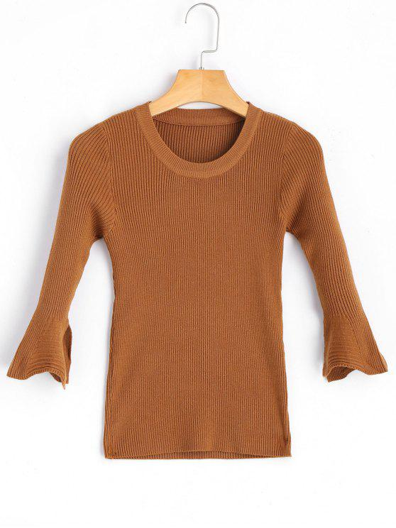 Ribbed Flare Sleeve Sweater LIGHT BROWN: Sweaters ONE SIZE   ZAFUL