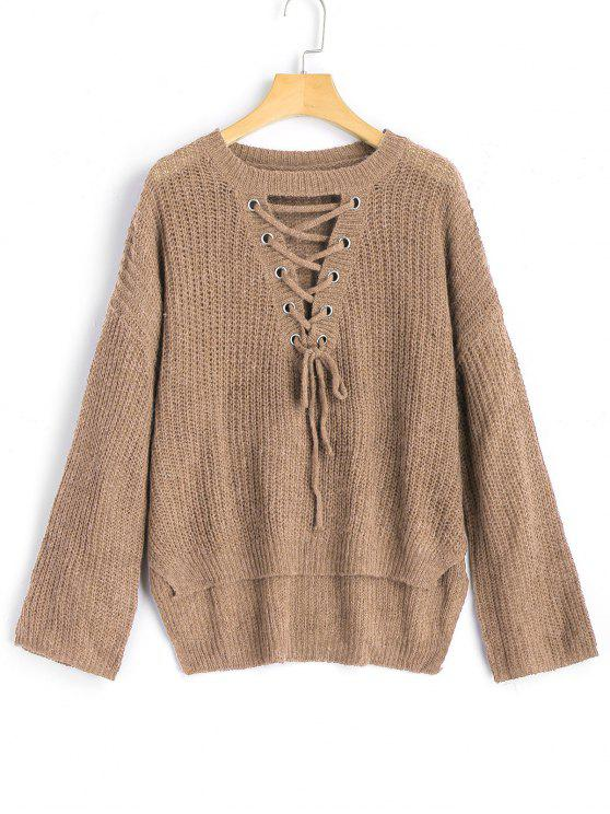 unique High Low Lace Up Pullover Sweater - KHAKI ONE SIZE