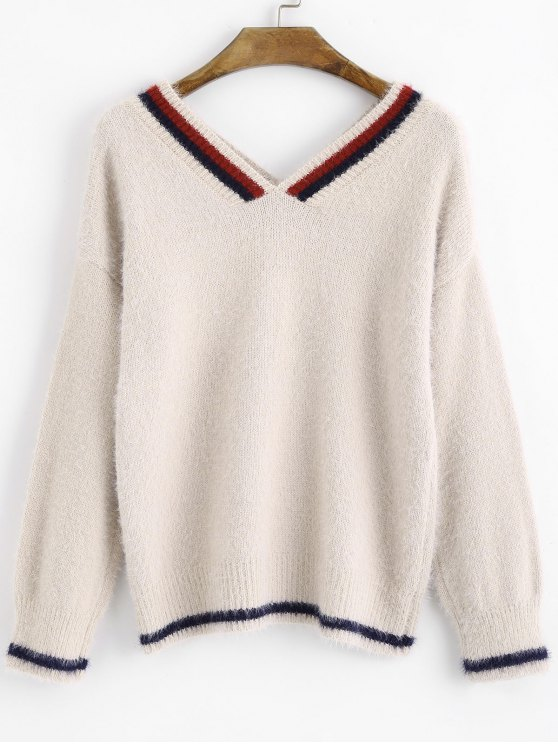 Contrasting Fuzzy V Neck Pullover Sweater LIGHT BEIGE: Sweaters ...