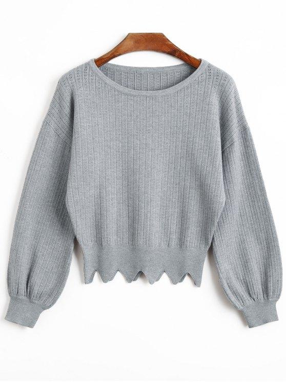 fashion Scalloped Trim Sweater - GRAY L