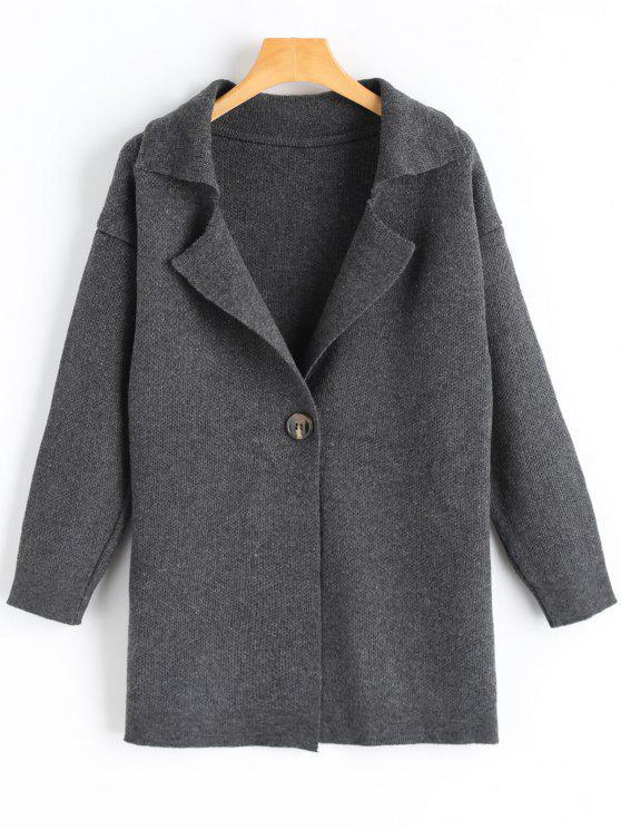 Cardigan Long à un Bouton - gris foncé Taille Unique