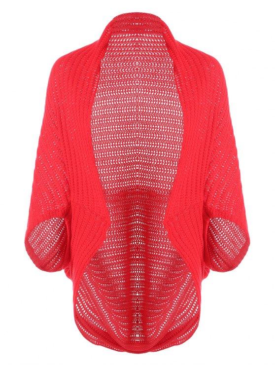 Cardigan ouvert à capuche - Rouge Taille Unique