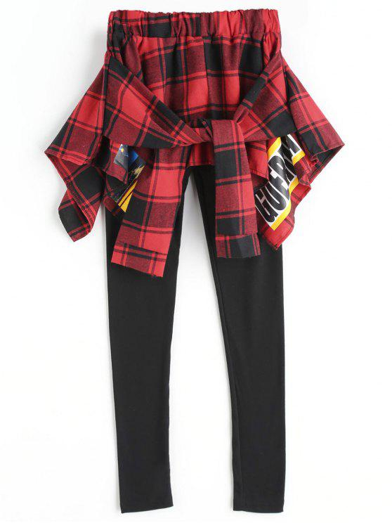 outfits Tied Checked Skirted Leggings - RED WITH BLACK L