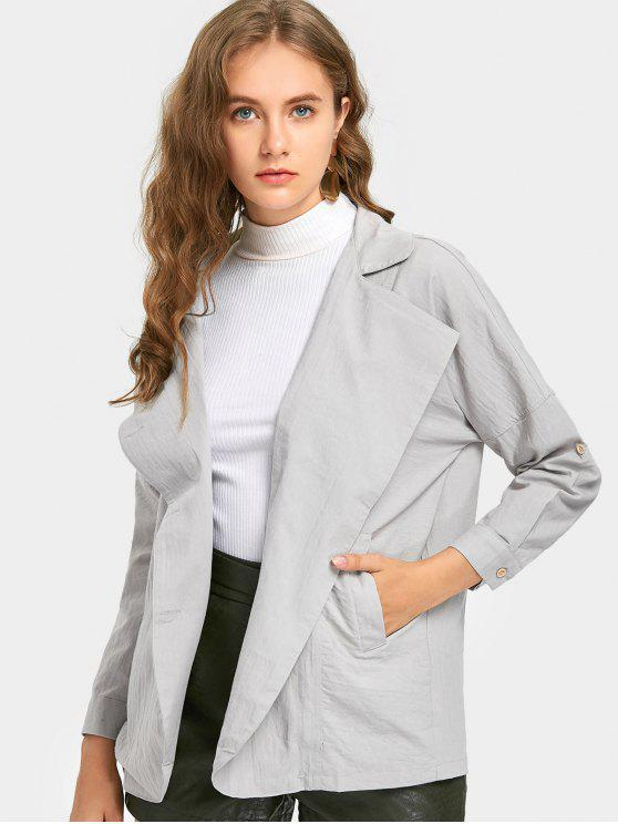 Manteau à Col Revers à Boutons - Gris clair S