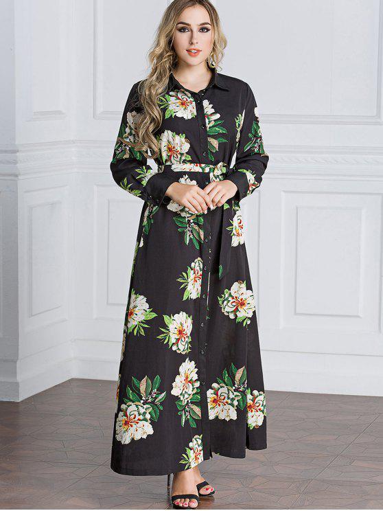 4010dd64d174b فستان شيرت ماكسي طباعة الأزهار - أسود M