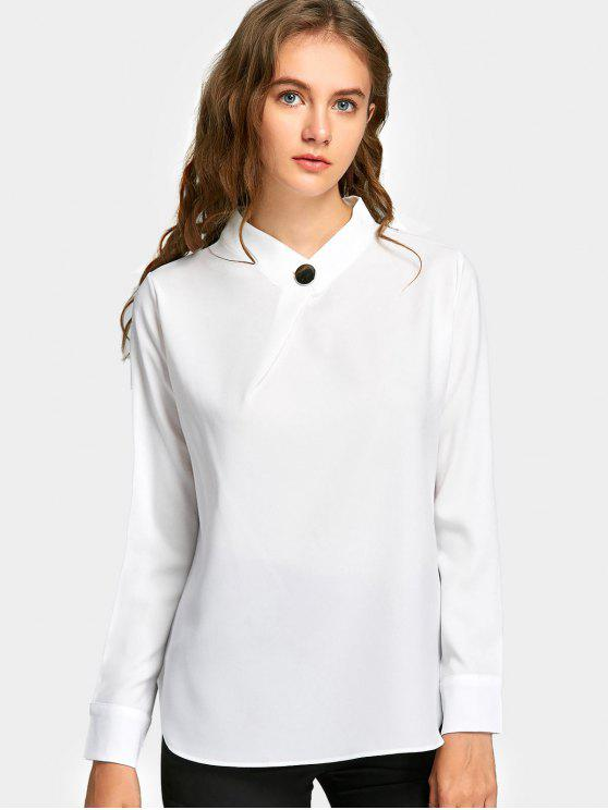 fashion Button Neck Long Sleeve Blouse - WHITE S