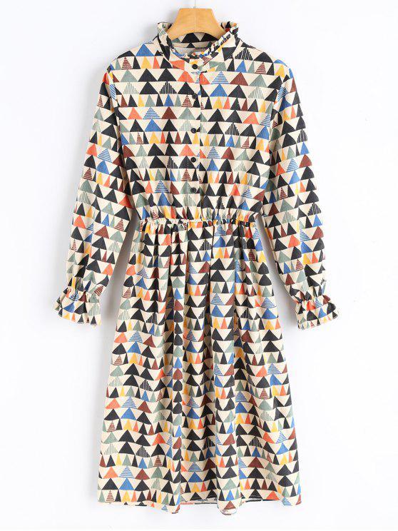 women's Geometrical Print Corduroy Dress - PALOMINO XL