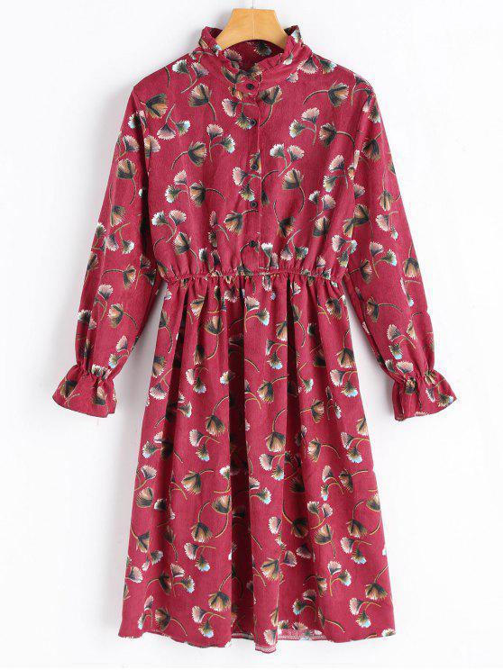 Blumenmuster Langarm Cord Kleid - Rot L