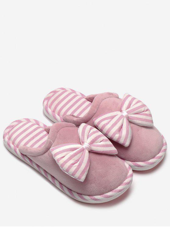 sale Plush Bowknot Striped House Slippers - PINK SIZE(38-39)