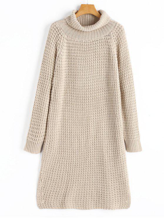 Vestido de manga comprida com gola de gola e gola - Damasco Tamanho único