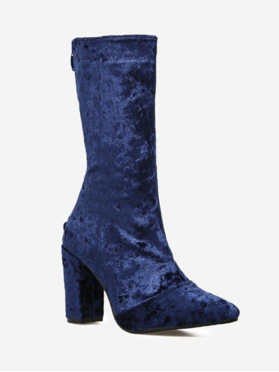 5be2473c2f 38% OFF] 2019 Pointed Toe Block Heel Mid Calf Boots In BLUE | ZAFUL