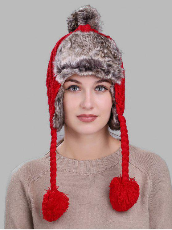 Chapéu do caçador do pom Pom do Knit do cabo - Vermelho