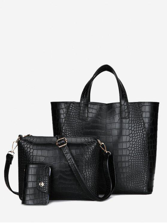 women Embossing 3 Pieces PU Leather Handbag Set - BLACK