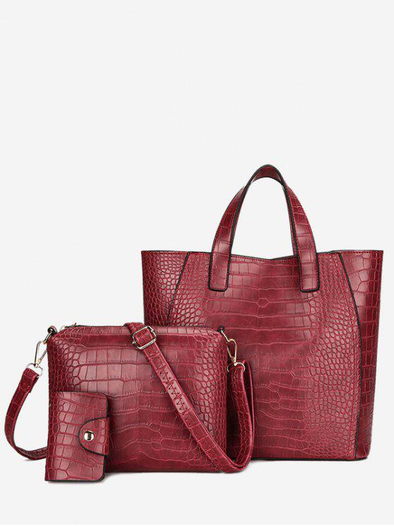 lady Embossing 3 Pieces PU Leather Handbag Set - RED