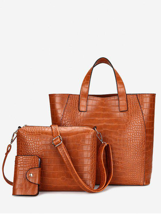 hot Embossing 3 Pieces PU Leather Handbag Set - BROWN