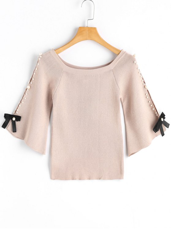 trendy Flare Sleee Faux Pearls Knit Sweater - LIGHT APRICOT ONE SIZE