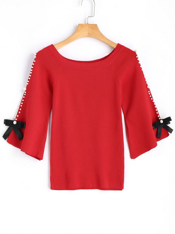 fancy Flare Sleee Faux Pearls Knit Sweater - RED ONE SIZE