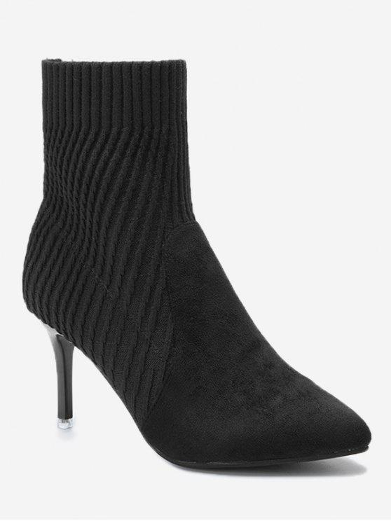 buy Stiletto Heel Pointed Toe Slip On Boots - BLACK 39/7.5