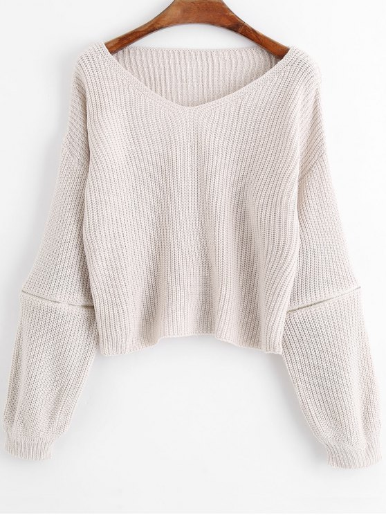 ladies Zippered V Neck Pullover Sweater - WHITE GREY ONE SIZE