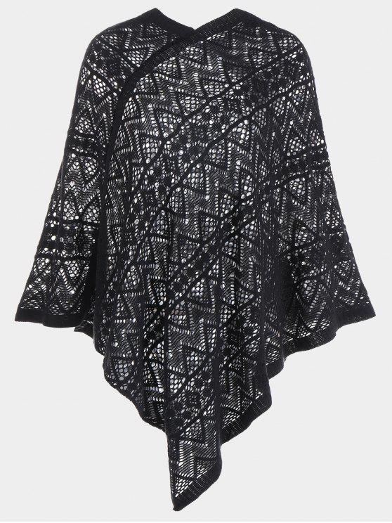 online Crochet Cape Pullover Sweater - BLACK ONE SIZE