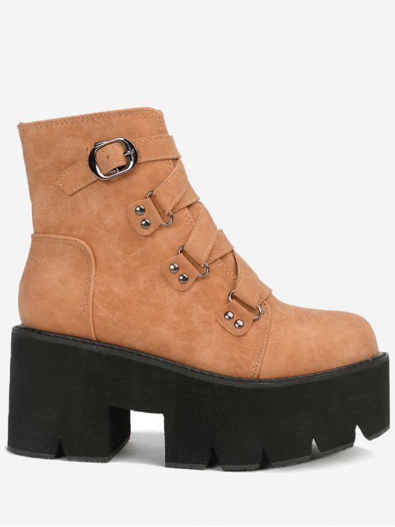 women Criss Cross Buckle Strap Platform Boots - BROWN 39