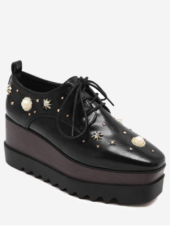 lady PU Leather Faux Pearl Embellished Wedge Shoes - BLACK 38