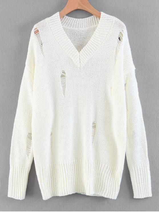 outfits Oversized Destroyed V Neck Sweater - WHITE M