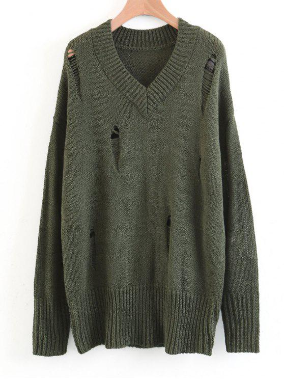 shops Oversized Destroyed V Neck Sweater - ARMY GREEN M