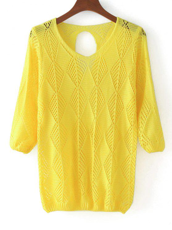 latest Three Quarter Sleeve Cut Out Pullover Sweater - YELLOW ONE SIZE