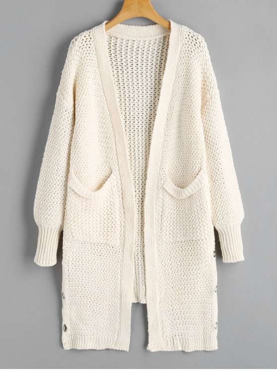 38 Off 2019 Pockets Lace Up Open Front Cardigan In White Zaful