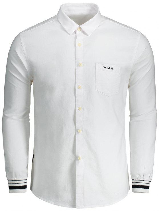 womens Button Fly Letter Embroidery Shirt - WHITE XL
