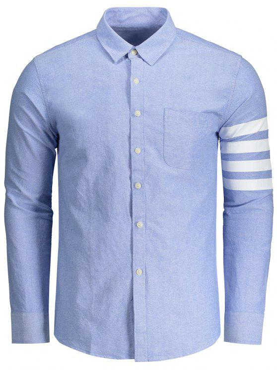 online Long Sleeves Stripe Splicing Shirt - AZURE 3XL