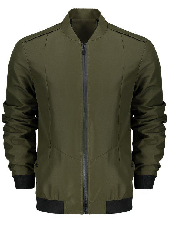 fashion Stand Collar Zip Fly Jacket - ARMY GREEN 2XL