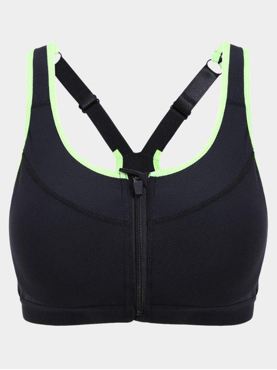 women's Padded Front Zipper Y Back Sports Bra - BLACK S