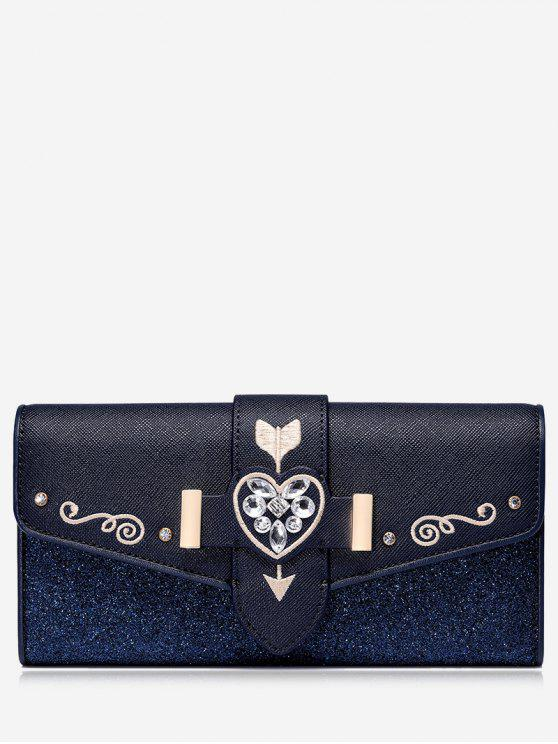 women Rhinestone Embroidery Glitter Wallet - BLUE