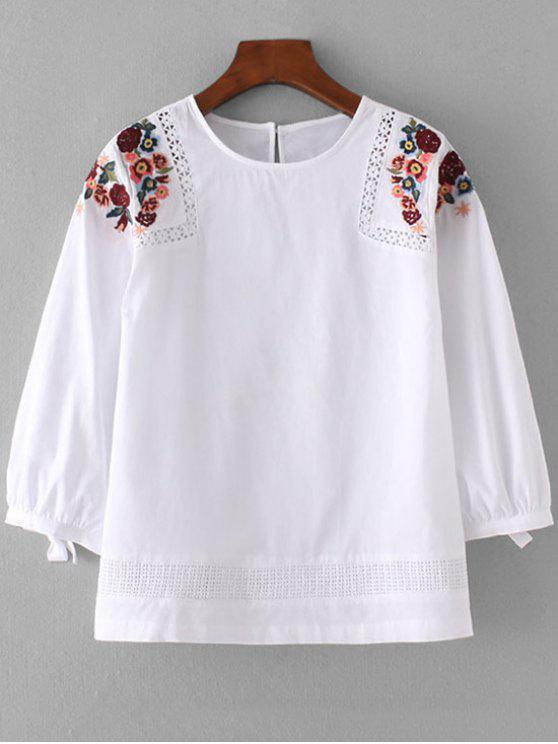 2018 Loose Sheer Floral Embroidered Blouse In WHITE M