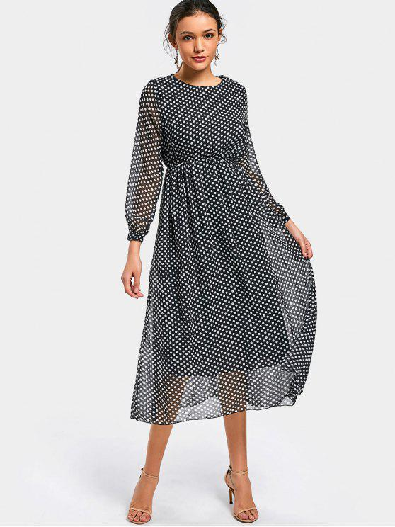 trendy Polka Dot Long Sleeve Chiffon Dress - DOT PATTERN S