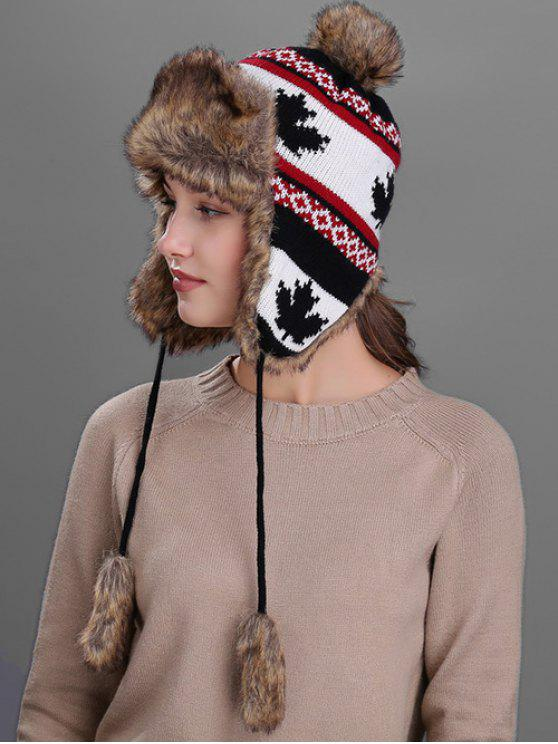 Chapéu de Padrão de Folhas de Bordo de Protector de Ouvidos para Inverno - Preto