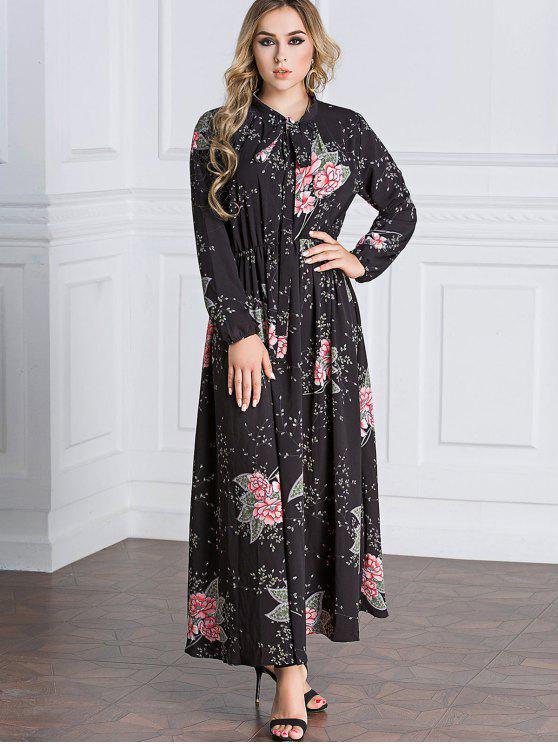 online Floral Tie Collar Maxi Dress - BLACK M