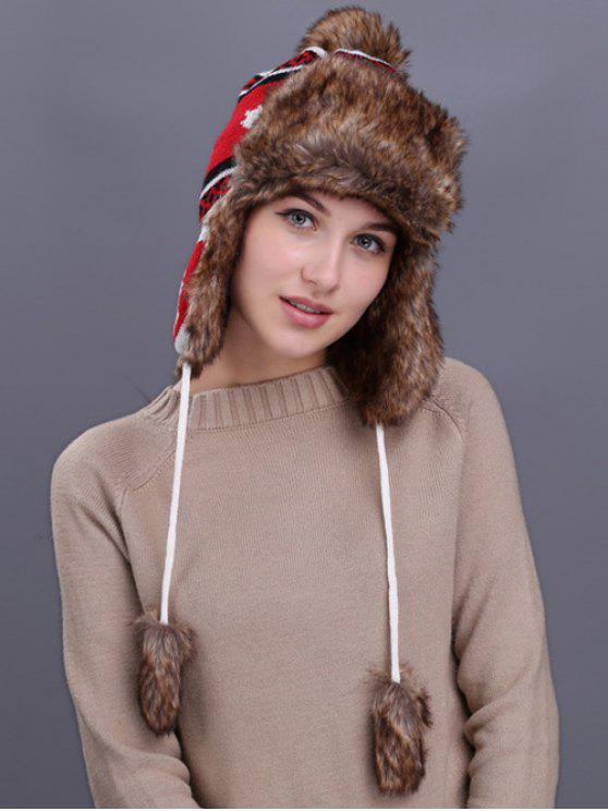 Folha de maple Pattern Earmuff Winter Hat - Branco