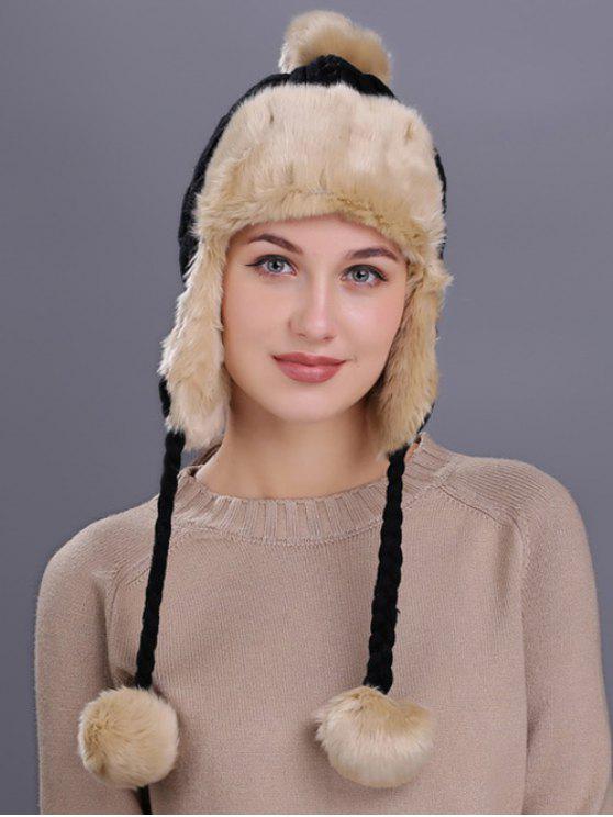 Chapéu de Padrão Listrado de Protector de Ouvidos para Inverno - Preto