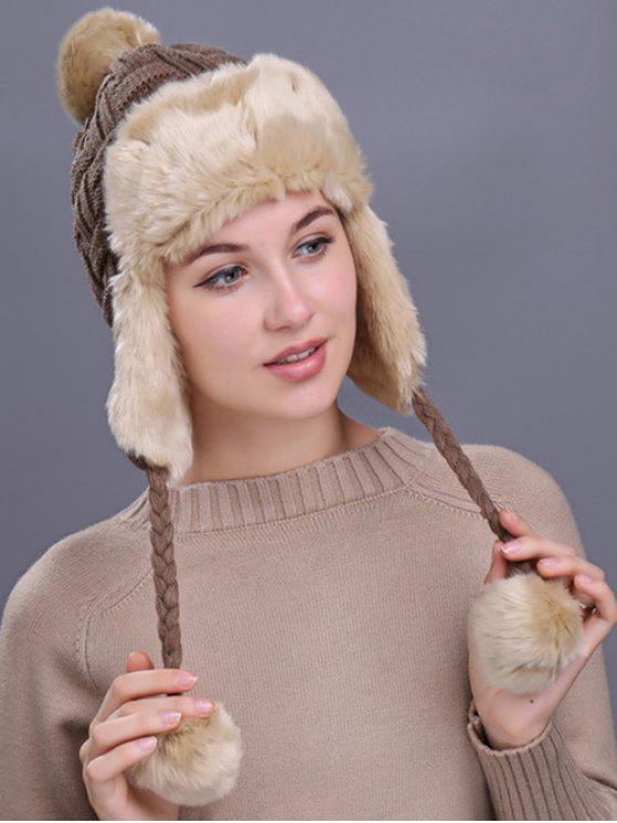 Cappello Invernale In Maglia Ispessito Con Motivo A Quadri All'Aperto - Cachi