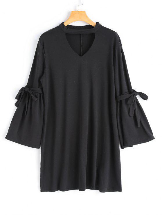 fancy Long Sleeve Choker Dress - BLACK M