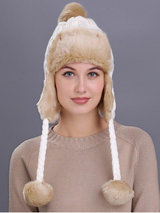 Chapéu de Padrão Listrado de Protector de Ouvidos para Inverno - Branco