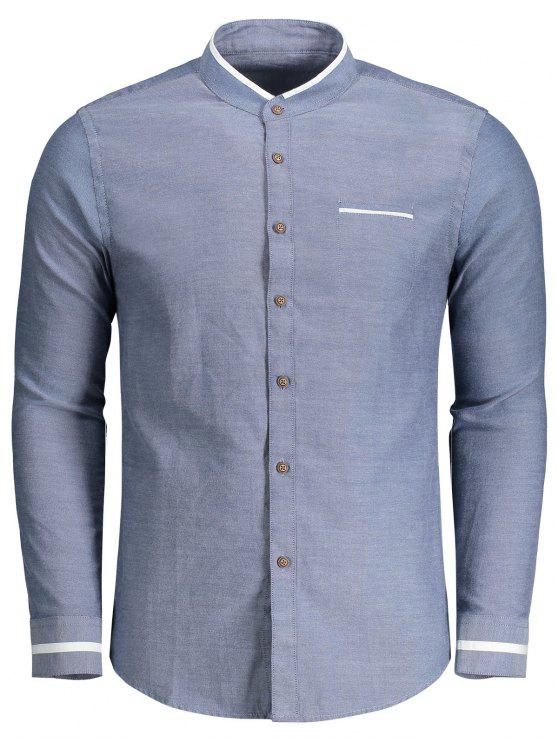 Camicia Con Colletto Dritto E Bottoni - Blu Denim XL
